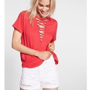 EXPRESS | Lace Up Front Girlfriend Red Tee